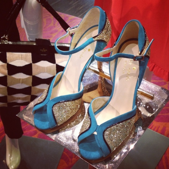 Kate Spade Blue Suede and Gold Glitter Shoes